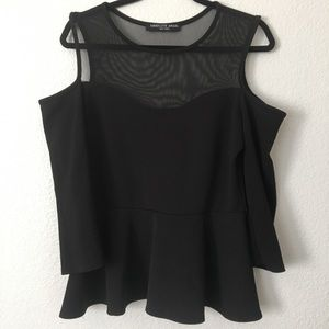 Absolute Angel NY Cold Shoulder Black Peplum Top